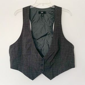 ★ MOSSIMO | DARK GRAY PLAIDED BUTTON UP VEST